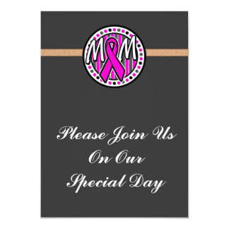 mom pink ribbon and stripes awareness card