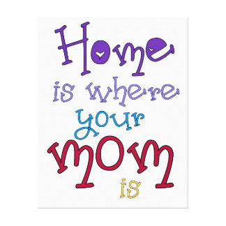 Mom Quote Canvas Art Quote Home is Where your Mom Stretched Canvas Print