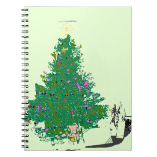 Mom's Christmas tree with bulbs on green XMAS20 Spiral Note Books