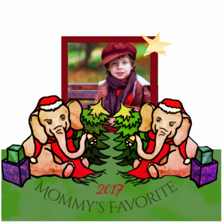"""Mom""""s Favourite Your Photo with Santa Elephants Standing Photo Sculpture"""