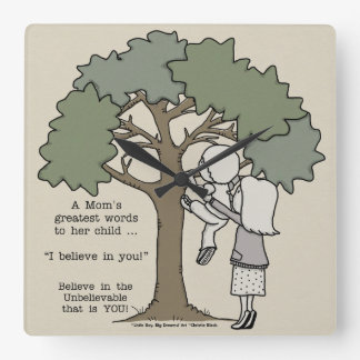 Mom's Greatest Words Square Wall Clock