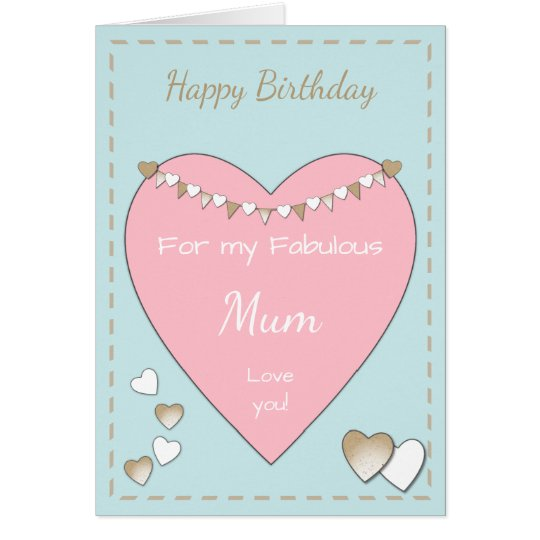 Mom Shabby Chic pink Birthday Card