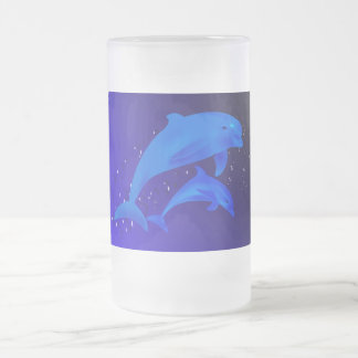 Mom & son dolphins frosted glass beer mug
