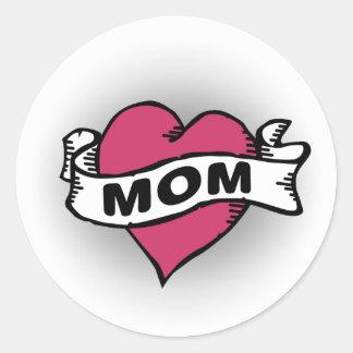 Mom Tattoo Classic Round Sticker
