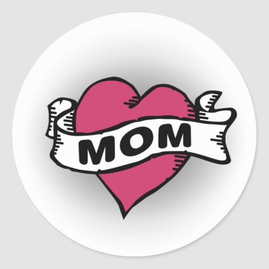 Mom Tattoo Classic Round Sticker