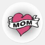 Mom Tattoo Round Stickers