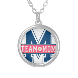 Mom team cool kid design silver plated necklace