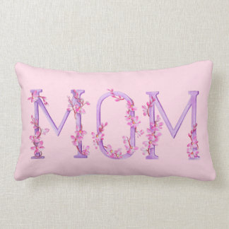 Mom text Watercolor pink purple lumber pillow