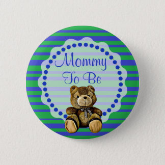 Mom to be Blue and Green Bear Baby Shower Button