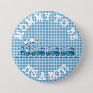Mom to be Blue Train Baby Shower Button