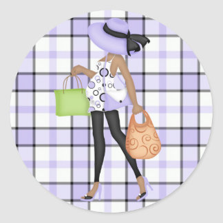 Mom to Be (darker skin) with Purple & Black Plaid Round Sticker