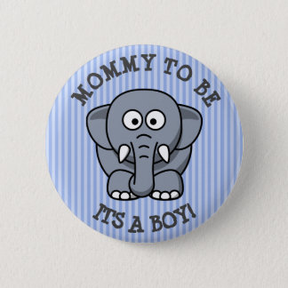 Mom to be Elephant Blue Striped Baby Shower Pin