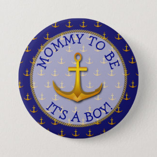 Mom To Be Nautical Anchor Baby Shower Button