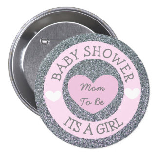 Mom to be Pink and Silver Baby Shower Button