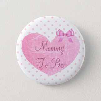 Mom to be pink Polka Dots baby shower button