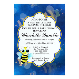 Mom To Bee Blue & Yellow Unisex Baby Shower Card