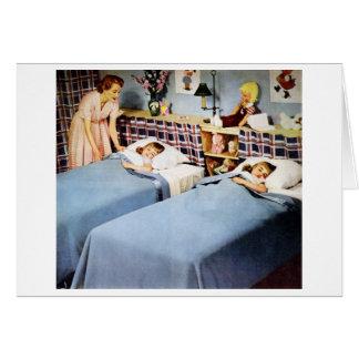 Mom Tucks in Twins Card