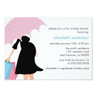 Mom Under Umbrella Baby Shower Card