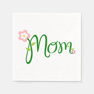 Mom White Standard Cocktail Napkin Paper Napkin