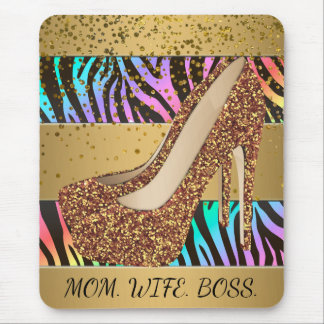 Mom Wife Boss Rainbow Zebra Gold High Heel Shoes Mouse Pad
