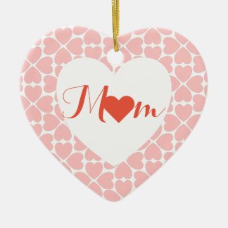 Mom with Pink Four Leaf Clover Hearts Ceramic Heart Ornament