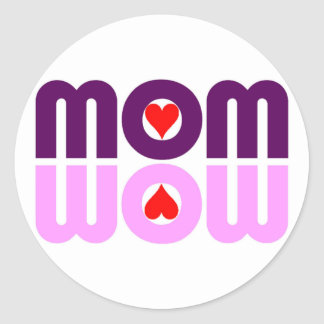 MOM WOW Red Hearts Reflection Sticker
