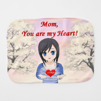 Mom, You are my Heart (Customizable) Burp Cloth