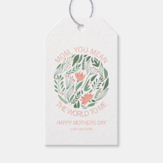 Mom You Mean The World To Me Mother's Day Gift Tag