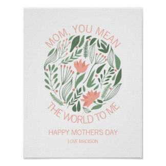 Mom You Mean The World To Me Mother's Day Poster