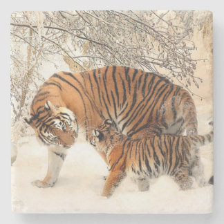 Momma and Baby Tiger Stone Coaster