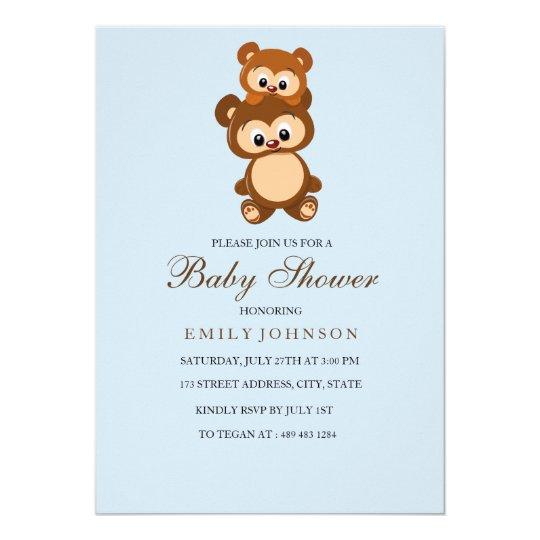 Momma Bear Blue Boy Baby Shower Invitation