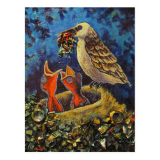Momma Bird, Recycled Art Postcard