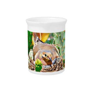 Momma Dove on Cactus Nest Porcelain Pitcher