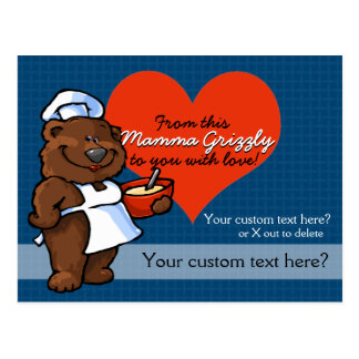 Momma Grizzly Bear Cook Baker Chef Custom Recipe Postcard