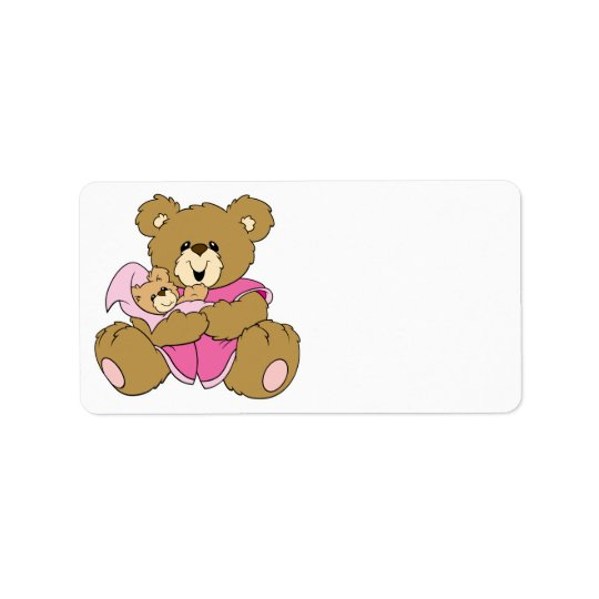 Mommy and Baby Girl Bear Label