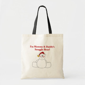 Mommy and Daddy's Snuggle Bear Christmas Budget Tote Bag