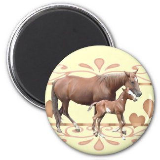 Mommy And Foal 2 Inch Round Magnet