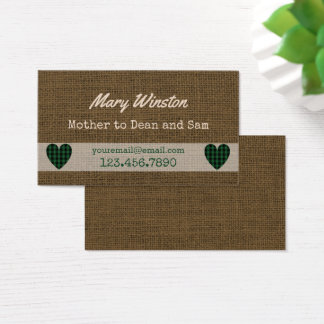 Mommy Calling Cards   Rustic Burlap Hearts