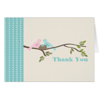 Mommy & Daddy Birds Blue Egg Thank You Note Card