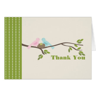 Mommy & Daddy Birds Green Egg Thank You Note Card