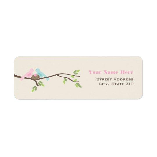 Mommy & Daddy Birds Pink Egg Baby Shower Return Address Label