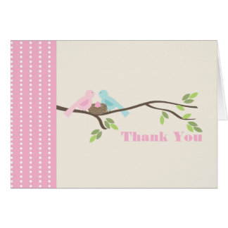 Mommy & Daddy Birds Pink Egg Thank You Note Card