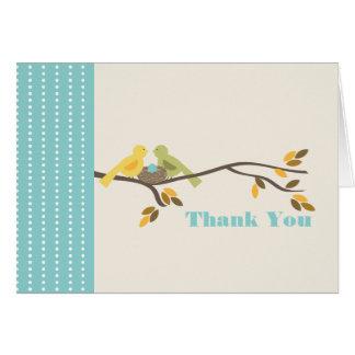 Mommy & Daddy Birds w Egg Blue Fall Thank You Card