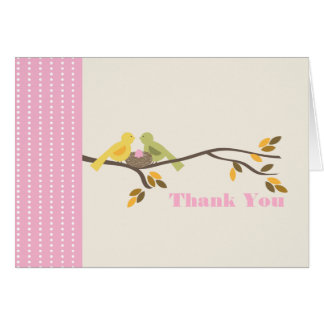 Mommy & Daddy Birds w Egg Pink Fall Thank You Card