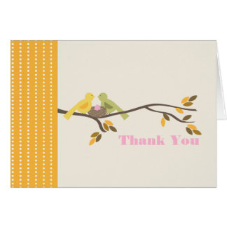 Mommy & Daddy Birds w Pink Egg Fall Thank You Card