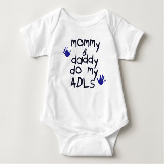 Mommy & Daddy do my ADLs blue handprint OT baby Baby Bodysuit