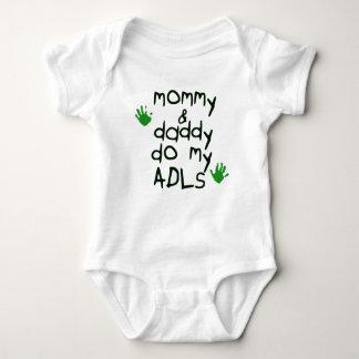 Mommy & Daddy do my ADLs green handprint OT baby Baby Bodysuit