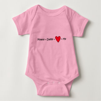 Mommy + Daddy + Love = Equals Me Baby Bodysuit