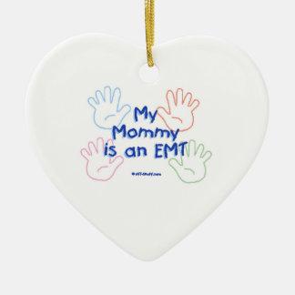 Mommy EMT Ceramic Heart Ornament