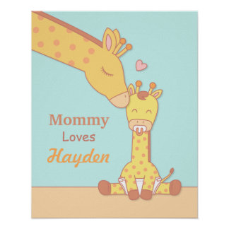 Mommy Giraffe and Baby Calf Nursery Room Decor Poster